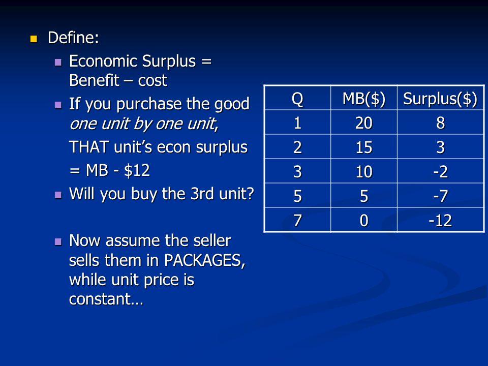 Define: Define: Economic Surplus = Benefit – cost Economic Surplus = Benefit – cost If you purchase the good one unit by one unit, If you purchase the