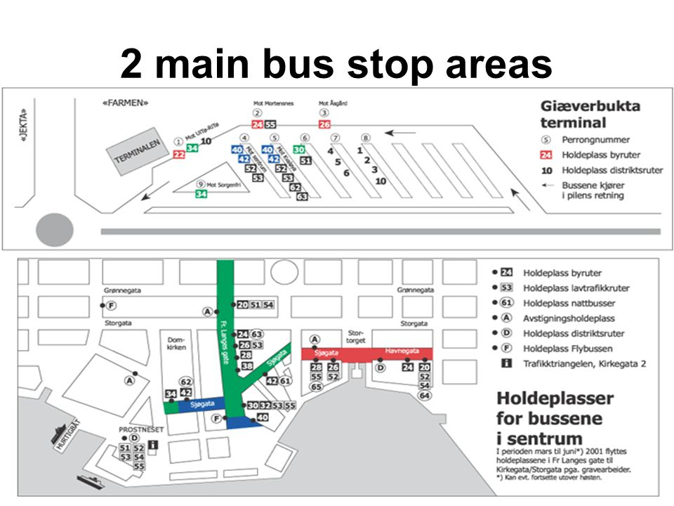 2 main bus stop areas