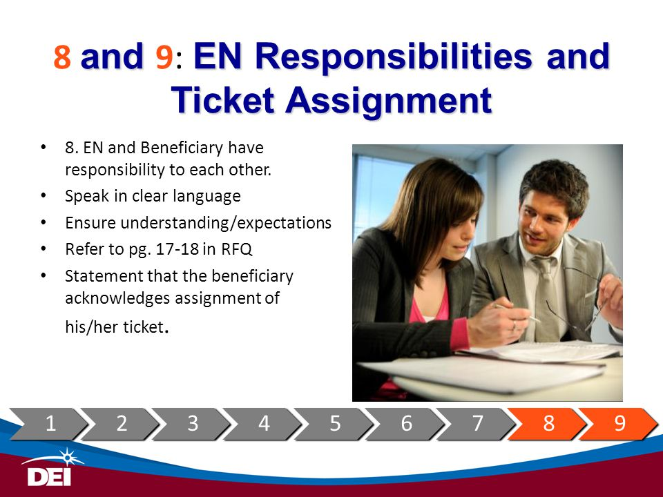 and EN Responsibilities and Ticket Assignment 8 and 9: EN Responsibilities and Ticket Assignment 8. EN and Beneficiary have responsibility to each oth