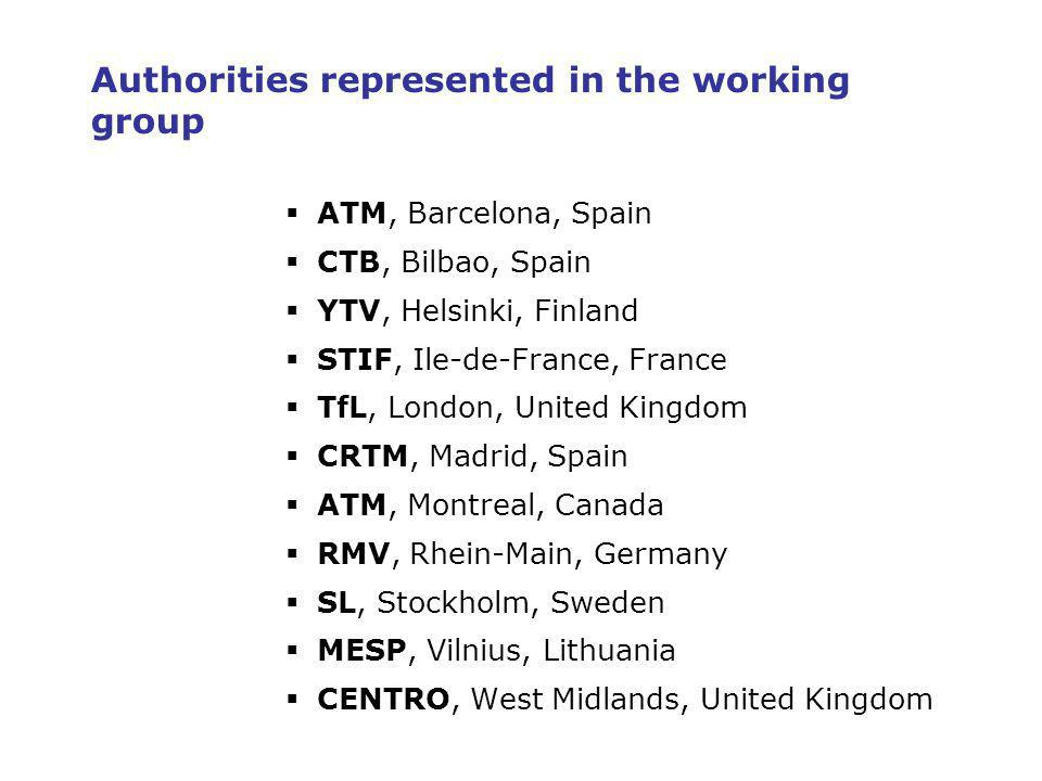 3 Authorities represented in the working group ATM, Barcelona, Spain CTB, Bilbao, Spain YTV, Helsinki, Finland STIF, Ile-de-France, France TfL, London, United Kingdom CRTM, Madrid, Spain ATM, Montreal, Canada RMV, Rhein-Main, Germany SL, Stockholm, Sweden MESP, Vilnius, Lithuania CENTRO, West Midlands, United Kingdom