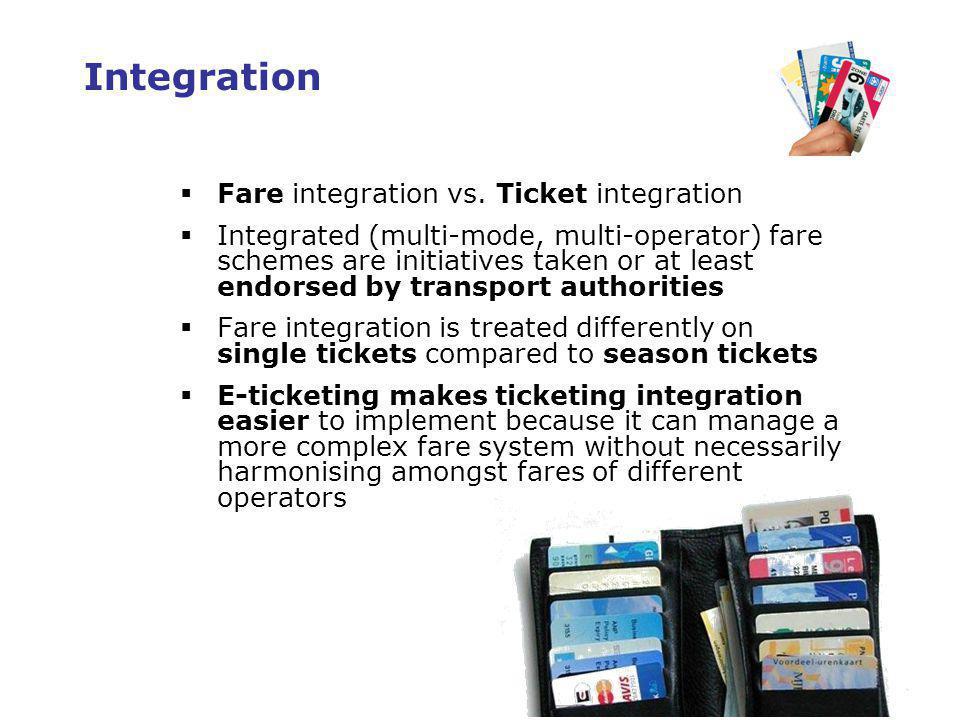 8 Integration Fare integration vs.