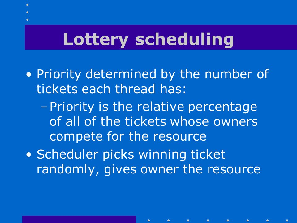 Lottery scheduling Priority determined by the number of tickets each thread has: –Priority is the relative percentage of all of the tickets whose owne