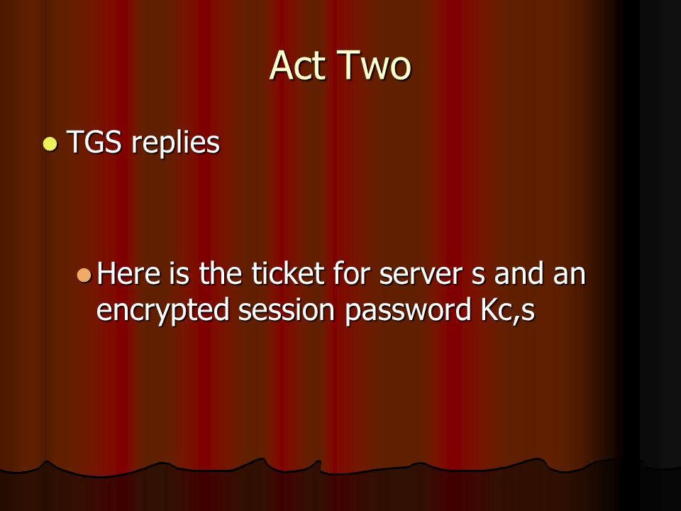 Act Two TGS replies TGS replies Here is the ticket for server s and an encrypted session password Kc,s Here is the ticket for server s and an encrypted session password Kc,s