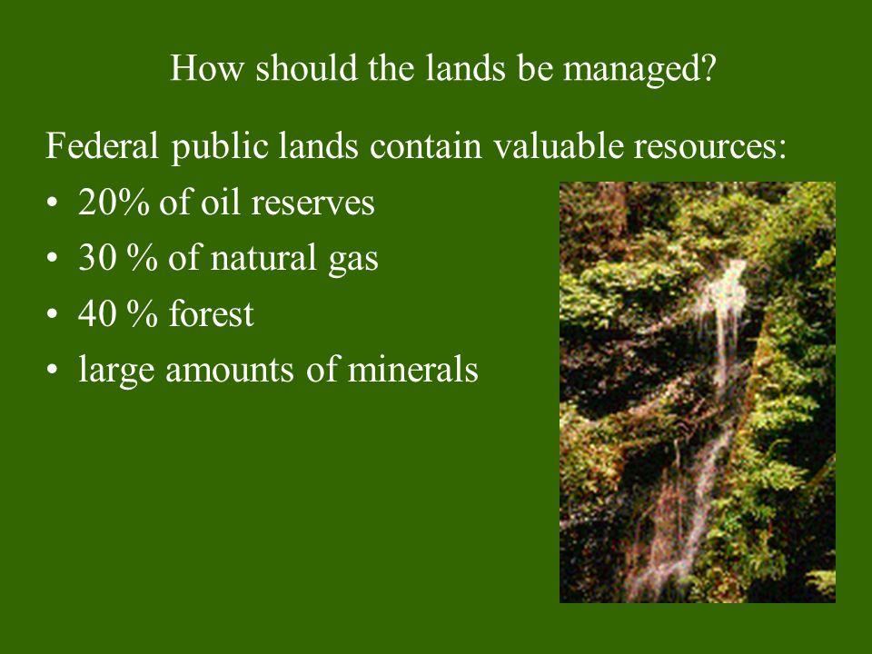 National parks and preservesNational forestsNational wildlife refuges