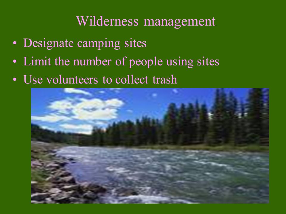 Wilderness Reasons to protect wilderness are: 1.Preserve biodiversity 2.Centers for evolution 3.Provide undisturbed habitats 4.Protect diverse biomes from damage 5.Provides a natural laboratory