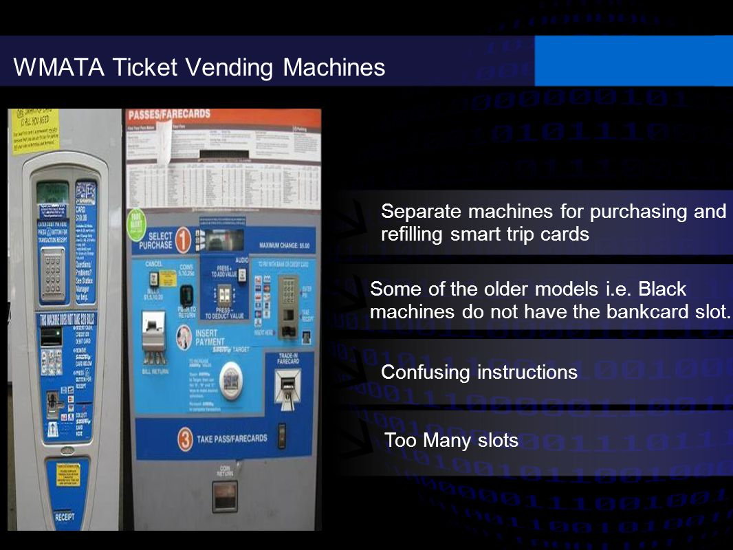WMATA Ticket Vending Machines Separate machines for purchasing and refilling smart trip cards Some of the older models i.e.