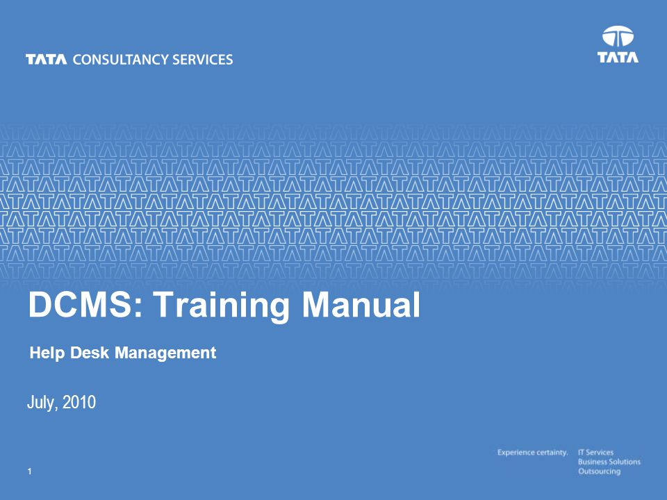 Text 1 July, 2010 DCMS: Training Manual Help Desk Management