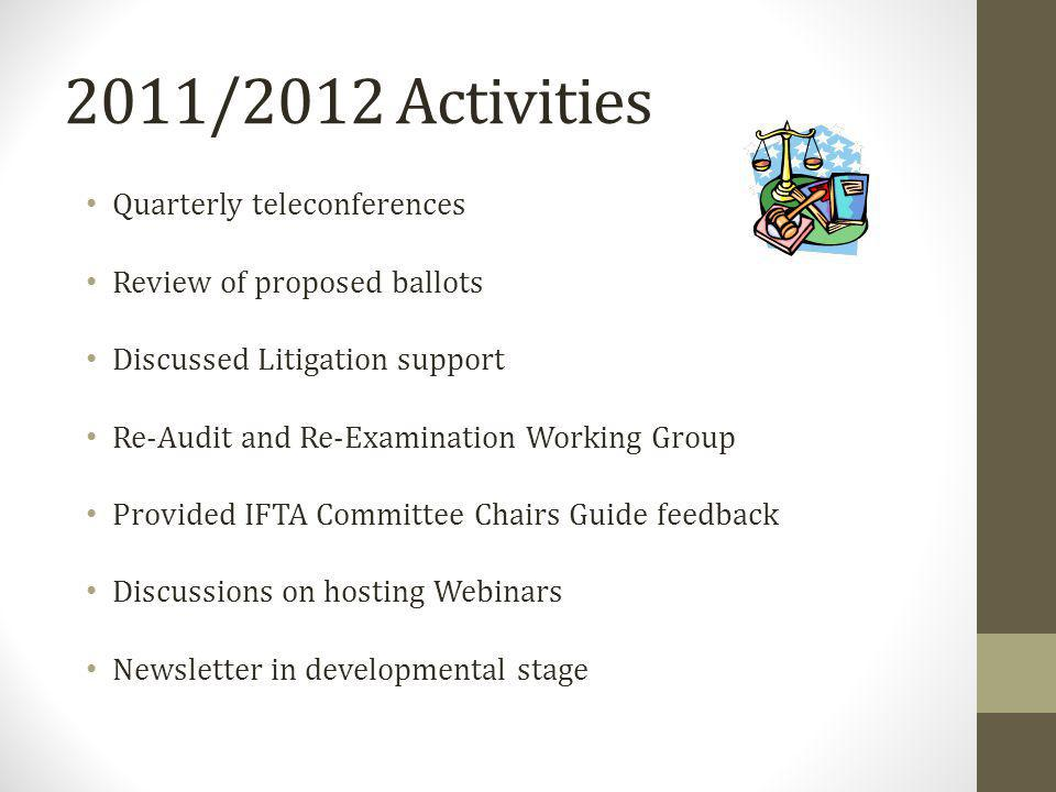 2011/2012 Activities Quarterly teleconferences Review of proposed ballots Discussed Litigation support Re-Audit and Re-Examination Working Group Provided IFTA Committee Chairs Guide feedback Discussions on hosting Webinars Newsletter in developmental stage