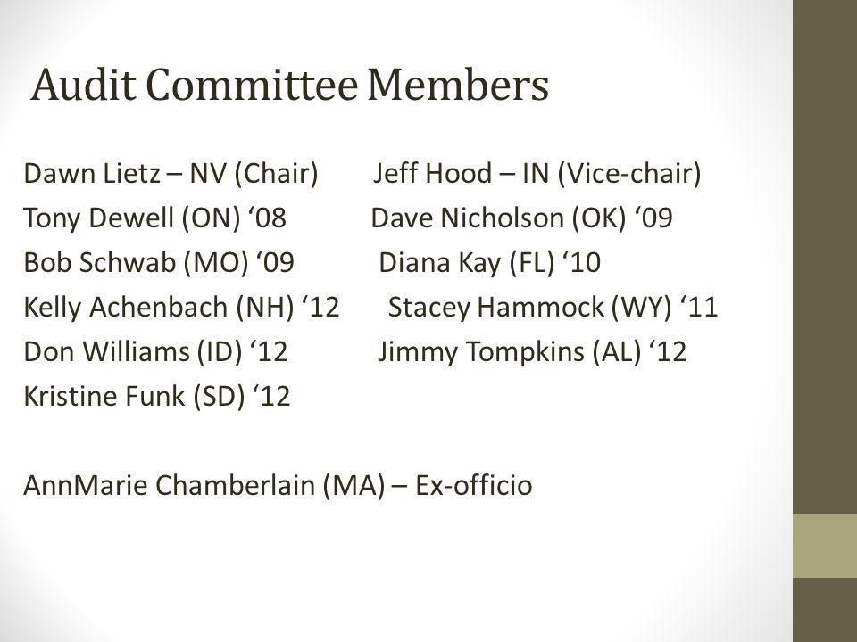 Audit Committee Members Dawn Lietz – NV (Chair) Jeff Hood – IN (Vice-chair) Tony Dewell (ON) 08 Dave Nicholson (OK) 09 Bob Schwab (MO) 09 Diana Kay (FL) 10 Kelly Achenbach (NH) 12 Stacey Hammock (WY) 11 Don Williams (ID) 12 Jimmy Tompkins (AL) 12 Kristine Funk (SD) 12 AnnMarie Chamberlain (MA) – Ex-officio