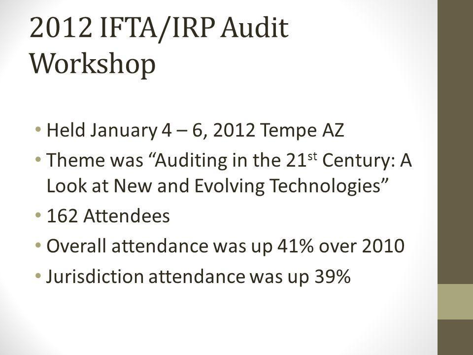 2012 IFTA/IRP Audit Workshop Held January 4 – 6, 2012 Tempe AZ Theme was Auditing in the 21 st Century: A Look at New and Evolving Technologies 162 Attendees Overall attendance was up 41% over 2010 Jurisdiction attendance was up 39%