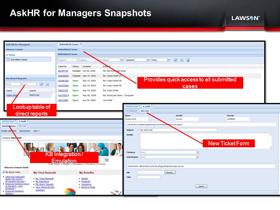 Lawson Template V.2 July 29, 2011 AskHR for Managers Snapshots New Ticket Form Lookup table of direct reports Provides quick access to all submitted cases KB Integration / Emulation