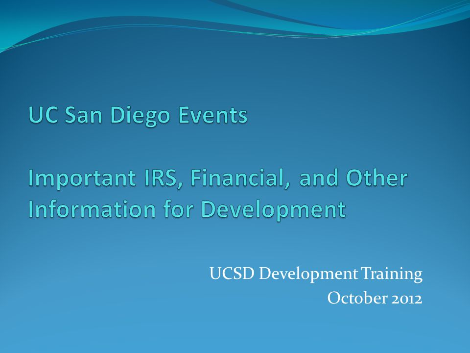 UCSD Development Training October 2012
