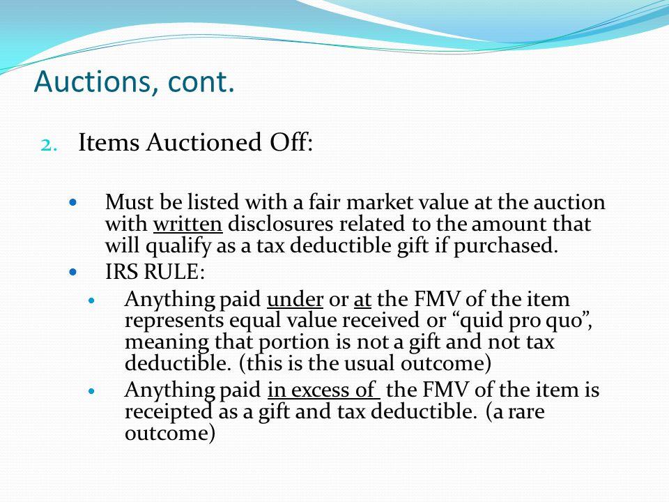 Auctions, cont. 2.