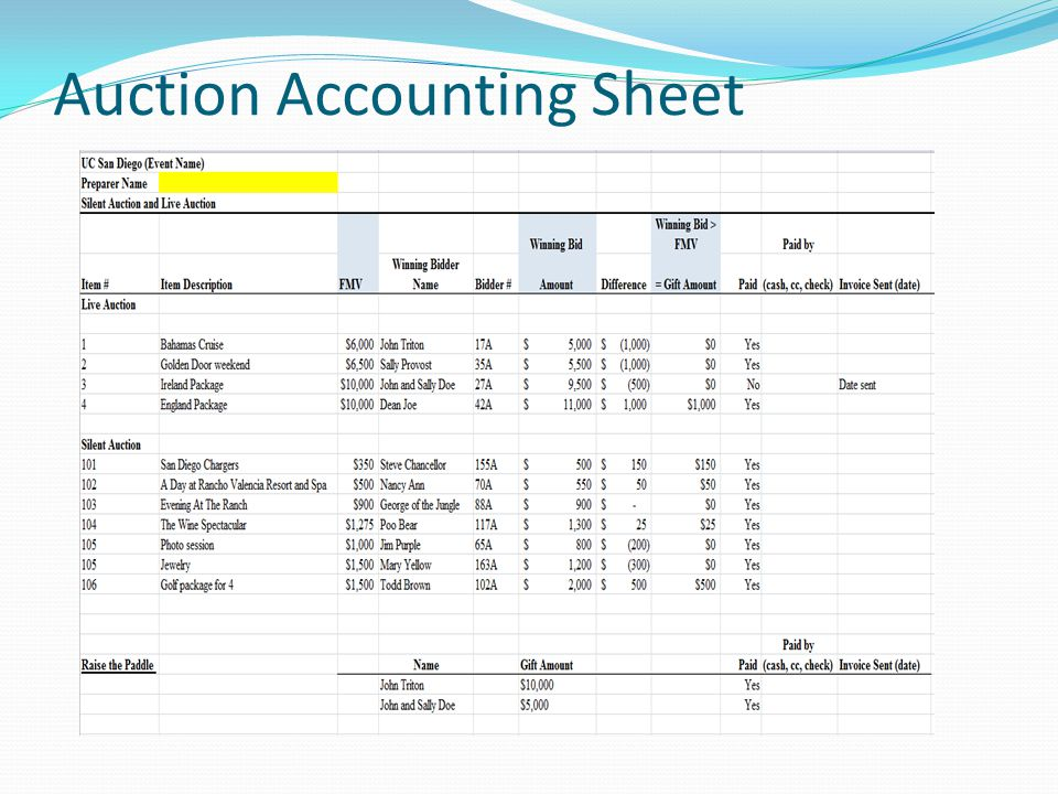 Auction Accounting Sheet