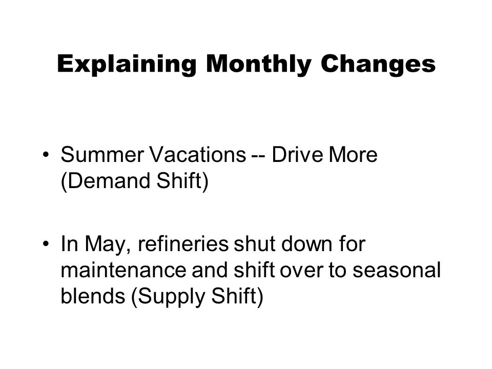 Explaining Monthly Changes Summer Vacations -- Drive More (Demand Shift) In May, refineries shut down for maintenance and shift over to seasonal blends (Supply Shift)