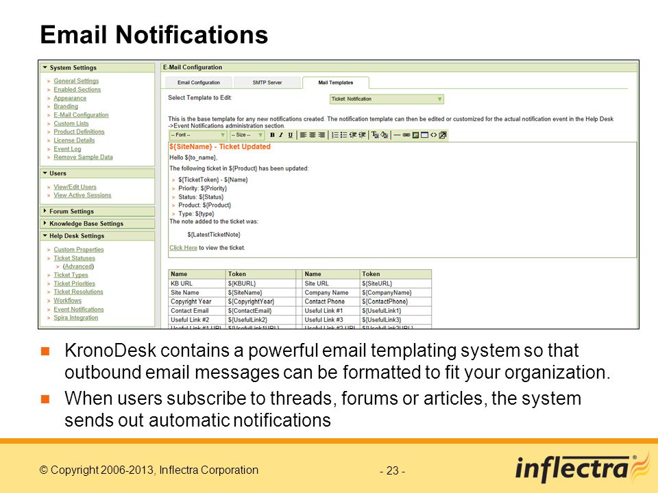 © Copyright 2006-2013, Inflectra Corporation Email Notifications KronoDesk contains a powerful email templating system so that outbound email messages can be formatted to fit your organization.