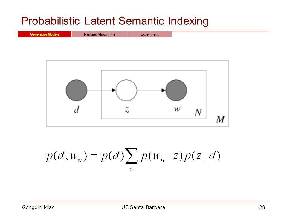 Gengxin MiaoUC Santa Barbara28 Probabilistic Latent Semantic Indexing Generative ModelsRanking AlgorithmsExperiment