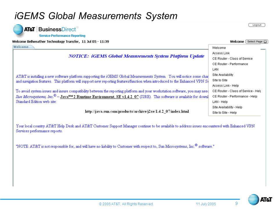 © 2005 AT&T, All Rights Reserved. 11 July 2005 9 iGEMS Global Measurements System