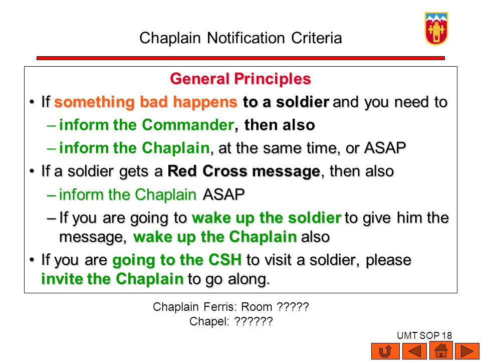 UMT SOP 18 General Principles If something bad happens to a soldier and you need toIf something bad happens to a soldier and you need to –inform the C