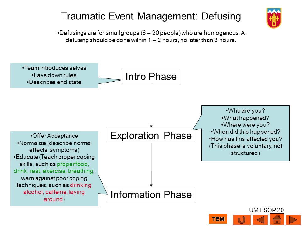 UMT SOP 20 Traumatic Event Management: Defusing Defusings are for small groups (6 – 20 people) who are homogenous. A defusing should be done within 1