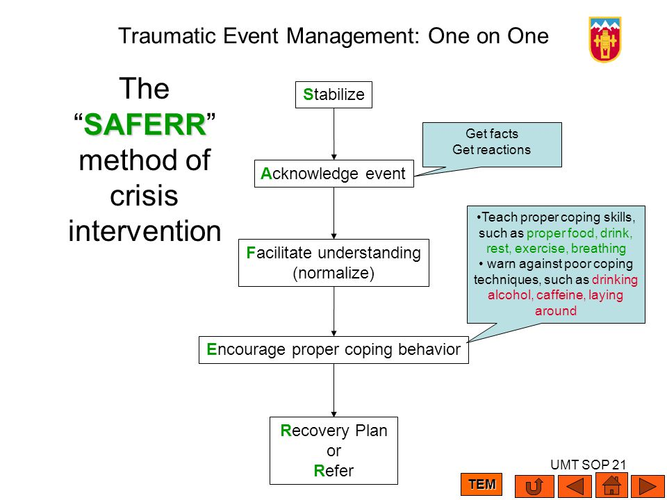 UMT SOP 21 Traumatic Event Management: One on One Stabilize Acknowledge event Facilitate understanding (normalize) Encourage proper coping behavior Re