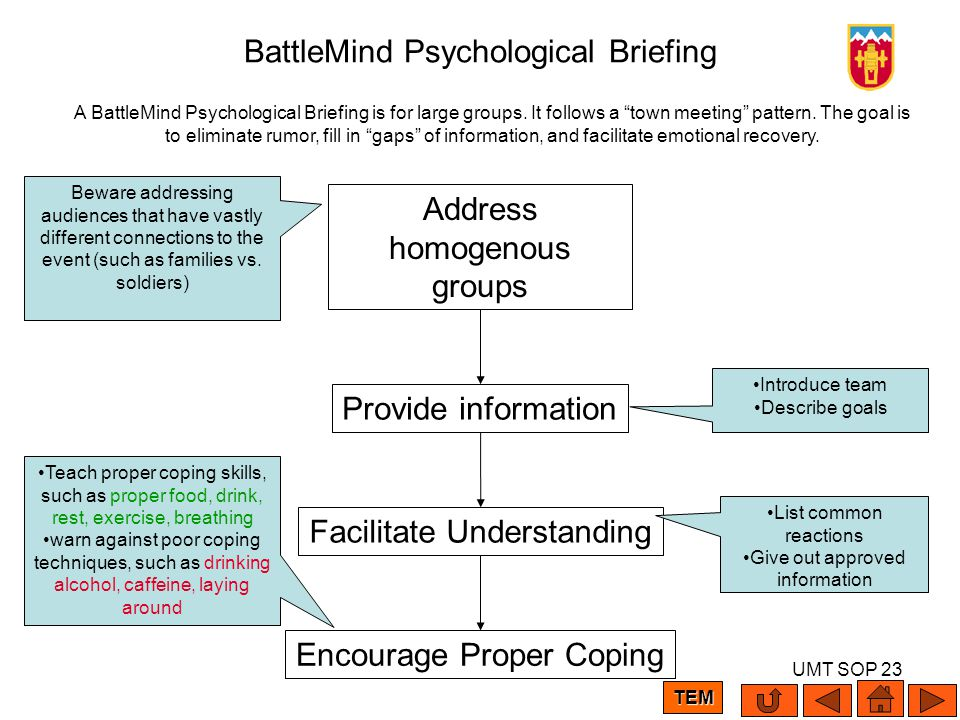 UMT SOP 23 BattleMind Psychological Briefing A BattleMind Psychological Briefing is for large groups. It follows a town meeting pattern. The goal is t
