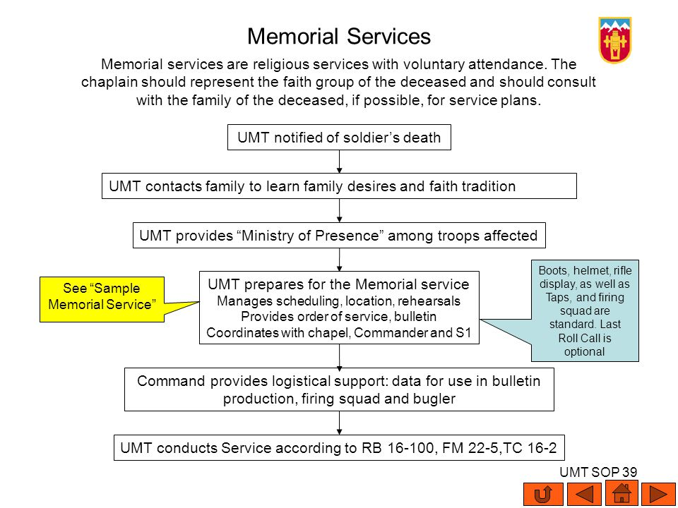 UMT SOP 39 Memorial services are religious services with voluntary attendance. The chaplain should represent the faith group of the deceased and shoul