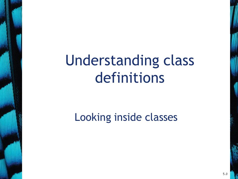 Understanding class definitions Looking inside classes 5.0