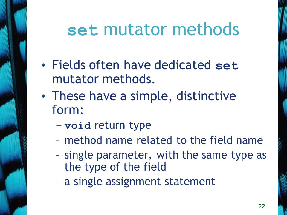 22 set mutator methods Fields often have dedicated set mutator methods.