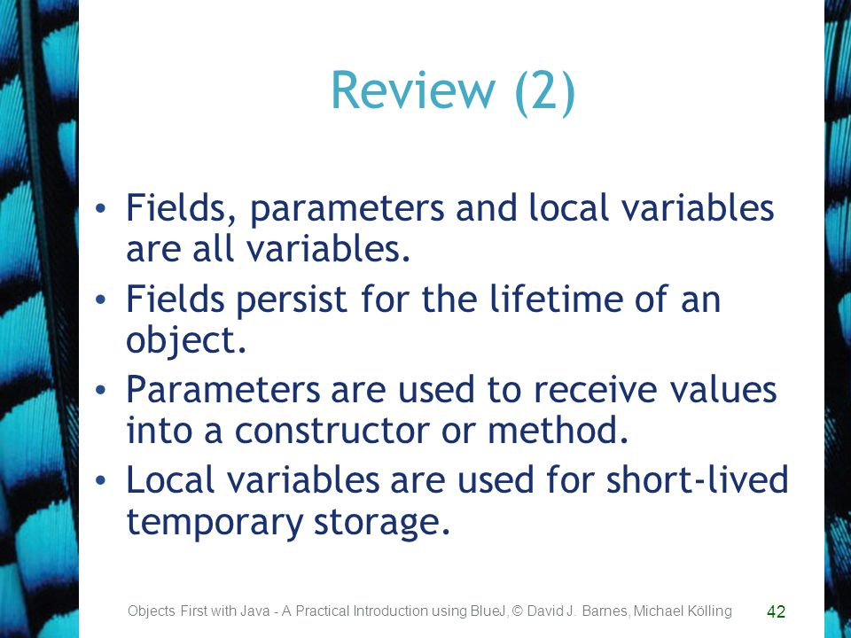 42 Review (2) Fields, parameters and local variables are all variables.
