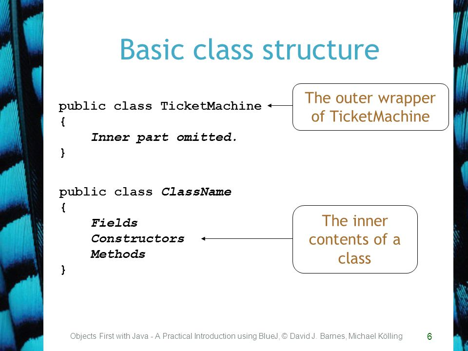 6 Basic class structure Objects First with Java - A Practical Introduction using BlueJ, © David J.
