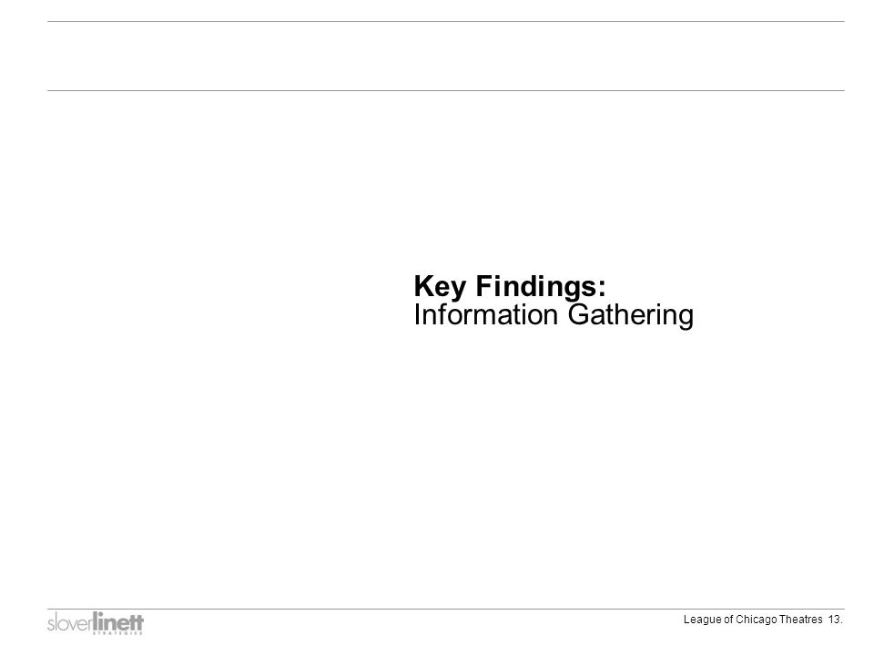 League of Chicago Theatres 13. Key Findings: Information Gathering