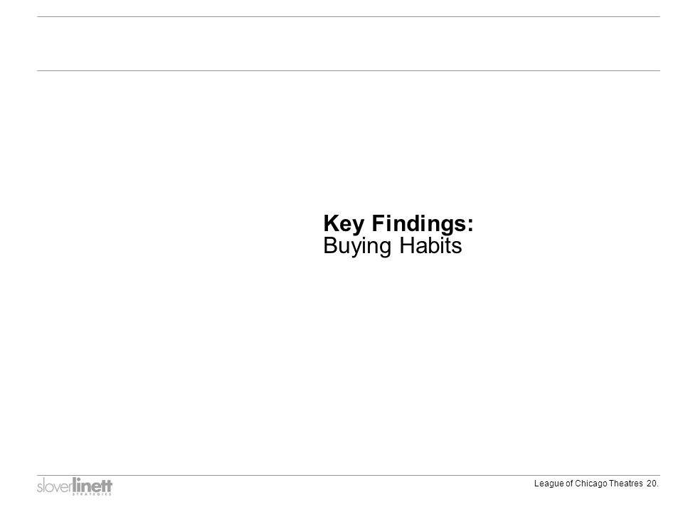 League of Chicago Theatres 20. Key Findings: Buying Habits