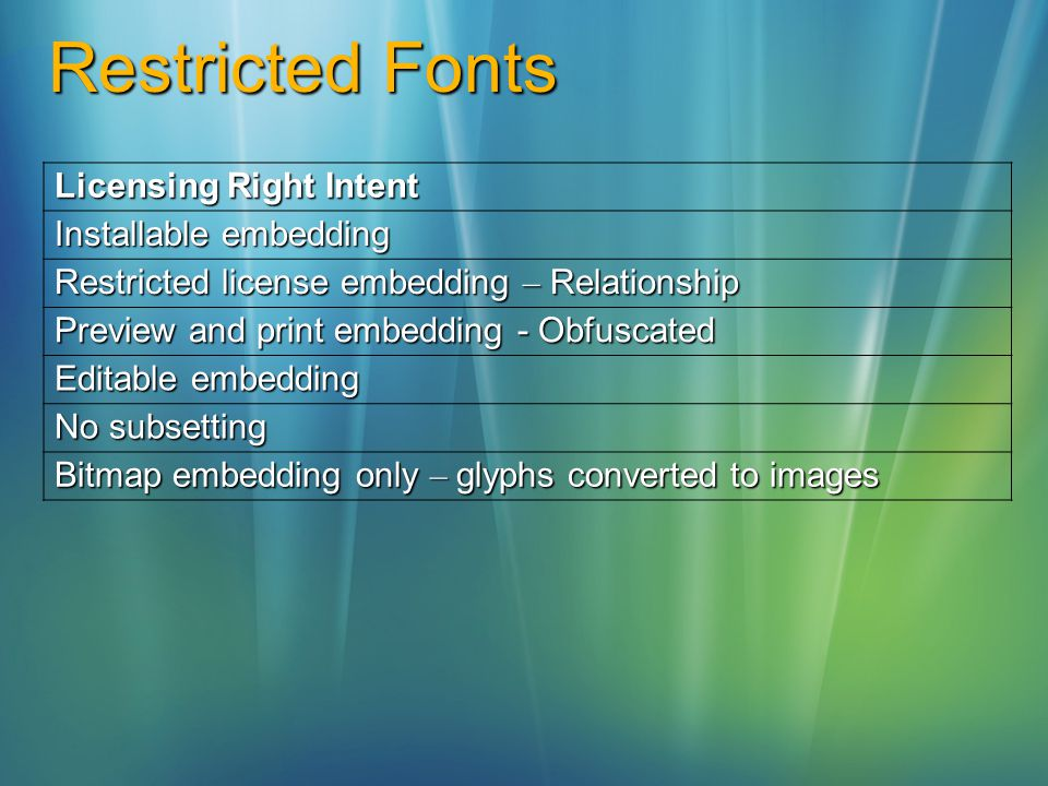Restricted Fonts Licensing Right Intent Installable embedding Restricted license embedding – Relationship Preview and print embedding - Obfuscated Editable embedding No subsetting Bitmap embedding only – glyphs converted to images