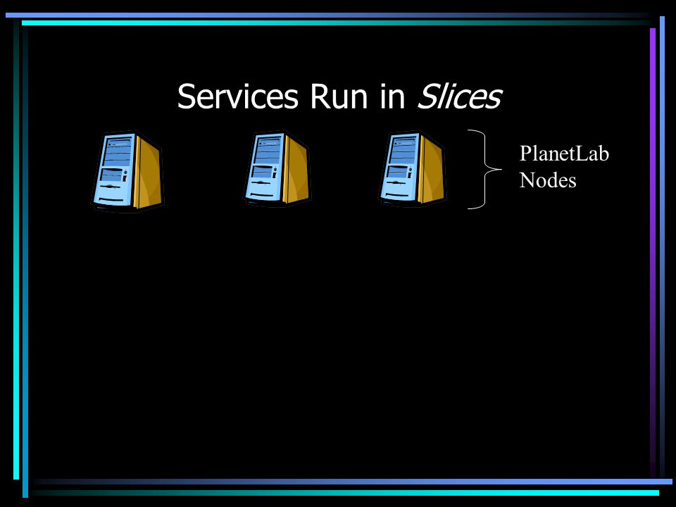 Services Run in Slices PlanetLab Nodes