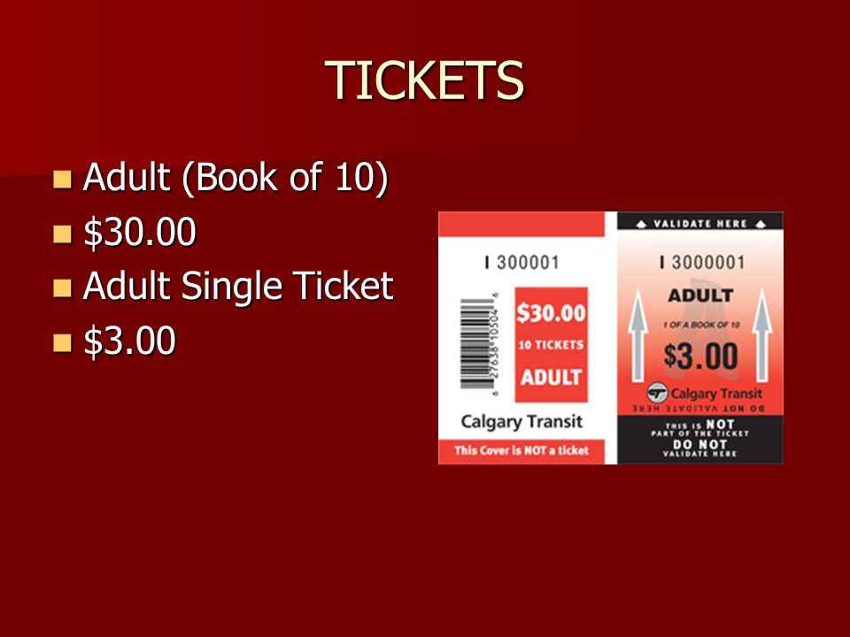 TICKETS Adult (Book of 10) Adult (Book of 10) $30.00 $30.00 Adult Single Ticket Adult Single Ticket $3.00 $3.00