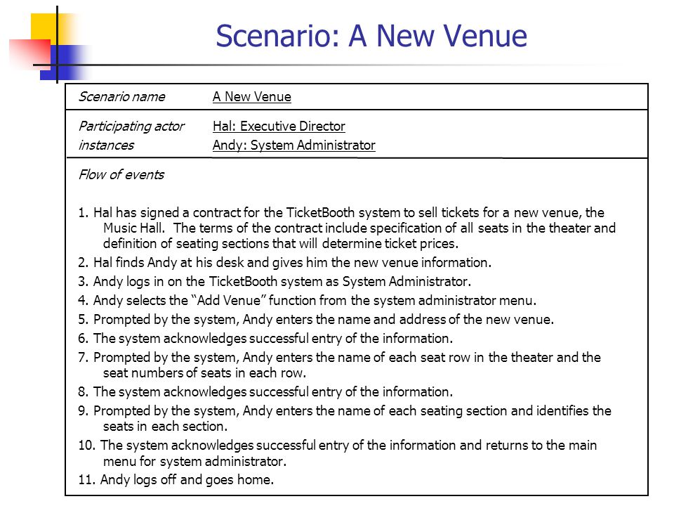 Scenario: A New Booking Scenario nameA New Booking Participating actorBob: Booking Agent instancesAndy: System Administrator Flow of events 1.