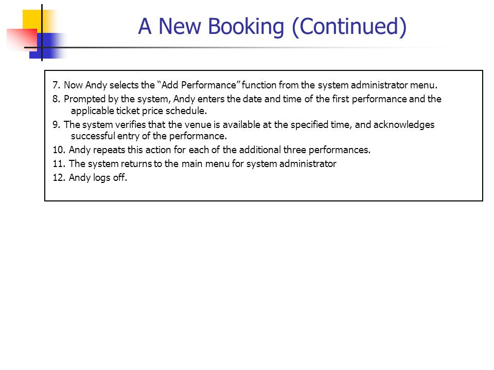 A New Booking (Continued) 7.