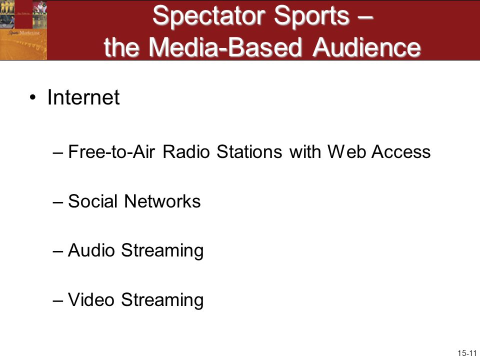 15-11 Spectator Sports – the Media-Based Audience Internet –Free-to-Air Radio Stations with Web Access –Social Networks –Audio Streaming –Video Streaming