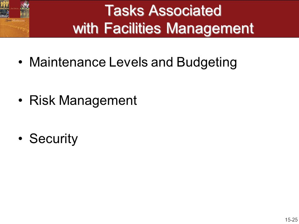 15-25 Tasks Associated with Facilities Management Maintenance Levels and Budgeting Risk Management Security