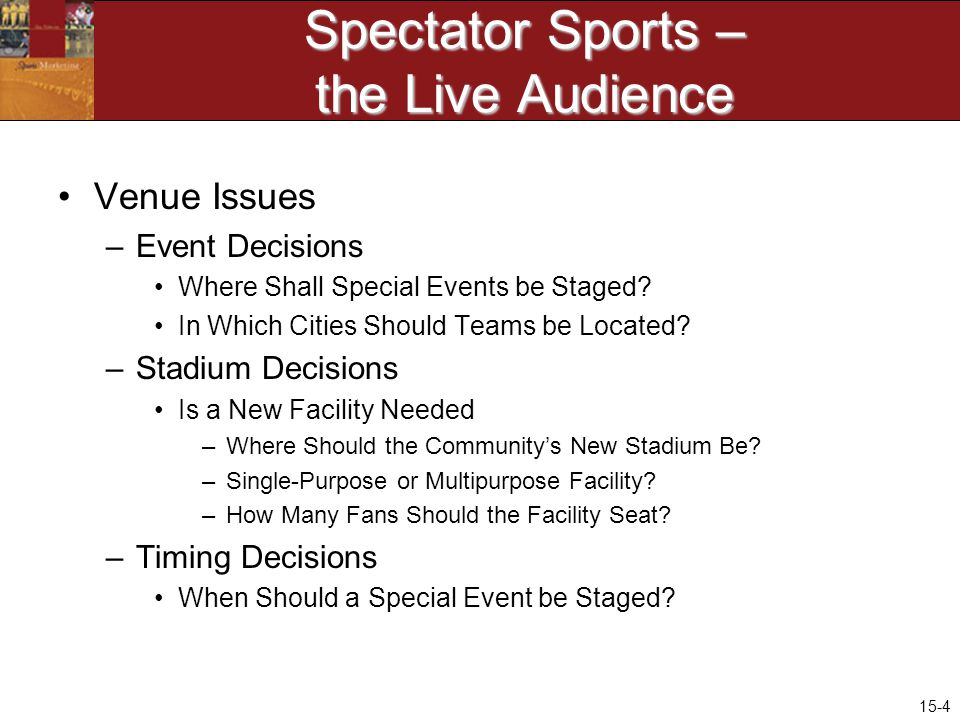 15-4 Spectator Sports – the Live Audience Venue Issues –Event Decisions Where Shall Special Events be Staged.