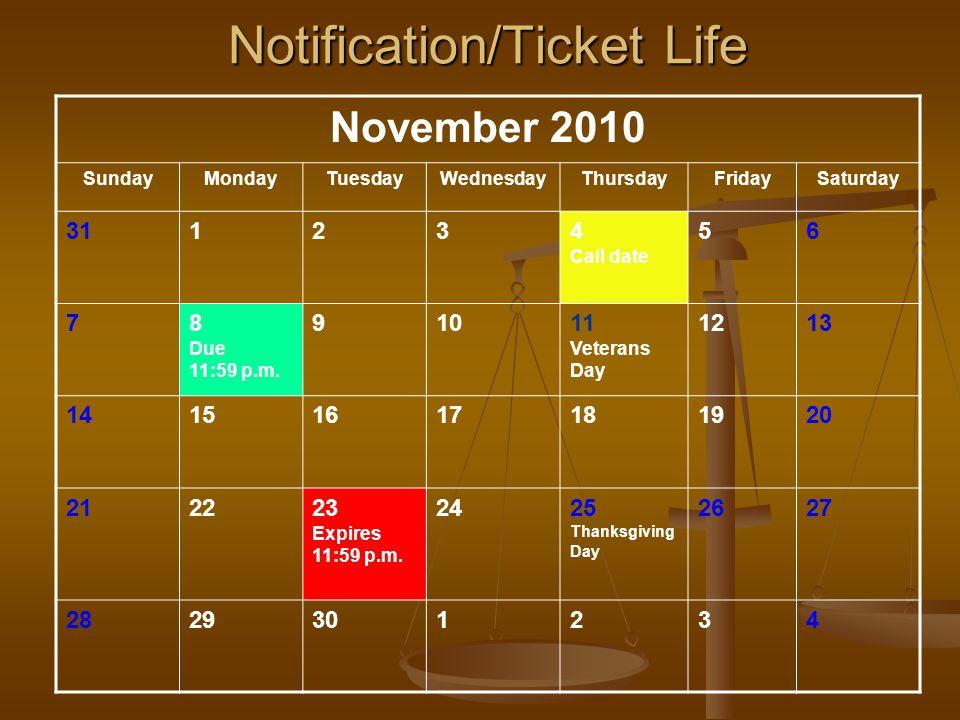 November 2010 SundayMondayTuesdayWednesdayThursdayFridaySaturday 311234 Call date 56 78 Due 11:59 p.m.