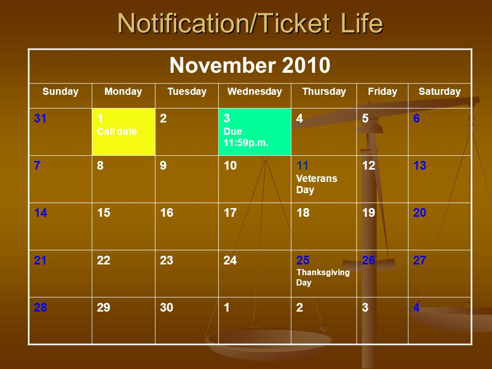 November 2010 SundayMondayTuesdayWednesdayThursdayFridaySaturday 311 Call date 23 Due 11:59p.m.