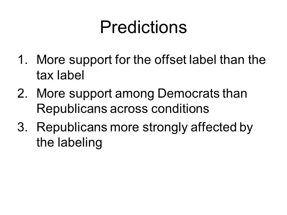 Predictions 1.More support for the offset label than the tax label 2.More support among Democrats than Republicans across conditions 3.Republicans more strongly affected by the labeling