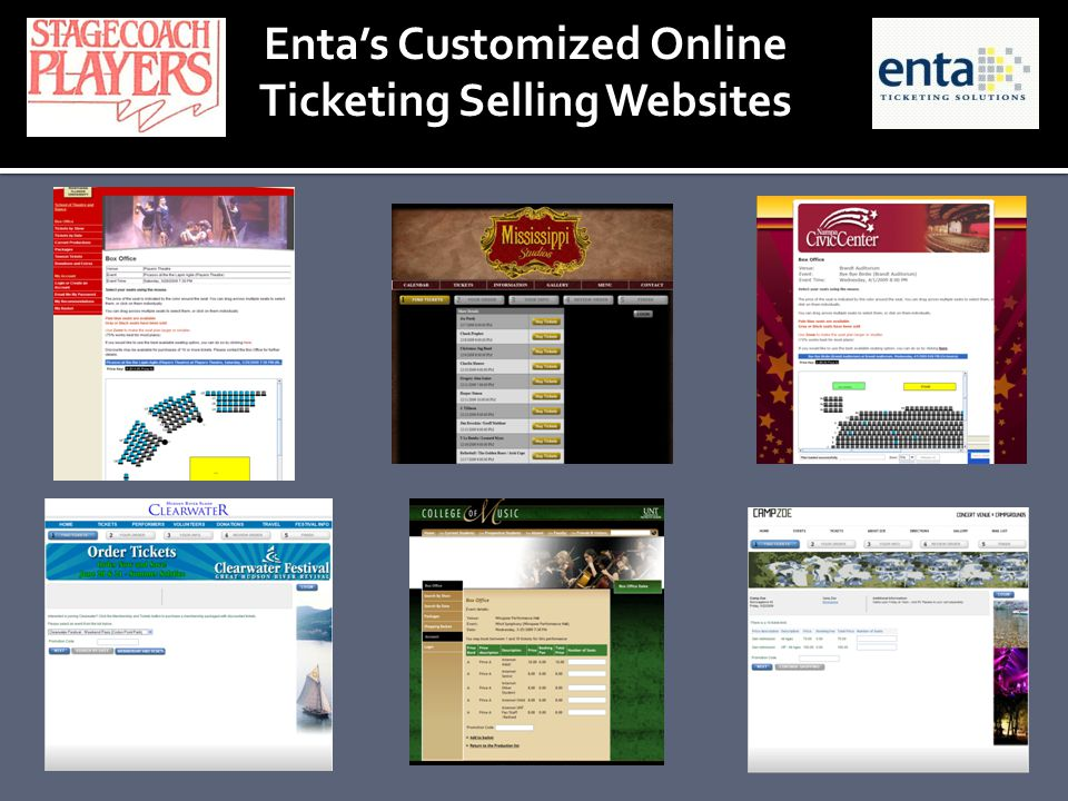 Entas Customized Online Ticketing Selling Websites