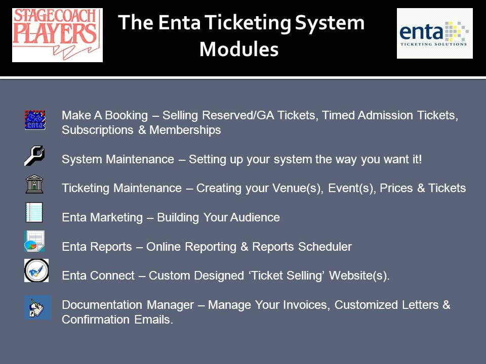 The Enta Ticketing System Modules Make A Booking – Selling Reserved/GA Tickets, Timed Admission Tickets, Subscriptions & Memberships System Maintenanc