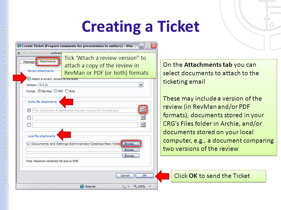 Creating a Ticket On the Attachments tab you can select documents to attach to the ticketing email These may include a version of the review (in RevMa