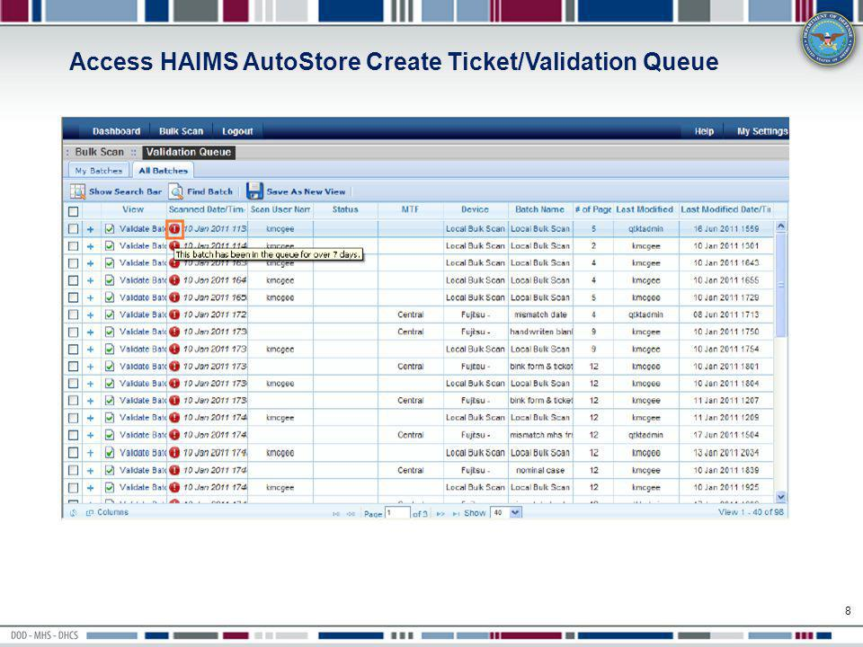 AHLTA Problems Module 39 When the user has selected a problem in the Problem List section of the Problems module, the user can select the Artifacts and Images Actions icon (or right-mouse click and select the Manage Artifacts and Images option) to launch HAIMS.