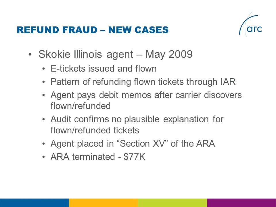REFUND FRAUD – NEW CASES Skokie Illinois agent – May 2009 E-tickets issued and flown Pattern of refunding flown tickets through IAR Agent pays debit memos after carrier discovers flown/refunded Audit confirms no plausible explanation for flown/refunded tickets Agent placed in Section XV of the ARA ARA terminated - $77K