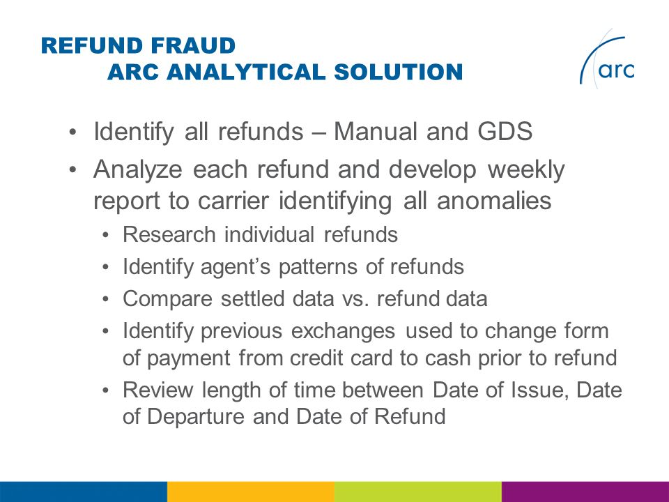 REFUND FRAUD ARC ANALYTICAL SOLUTION Identify all refunds – Manual and GDS Analyze each refund and develop weekly report to carrier identifying all anomalies Research individual refunds Identify agents patterns of refunds Compare settled data vs.